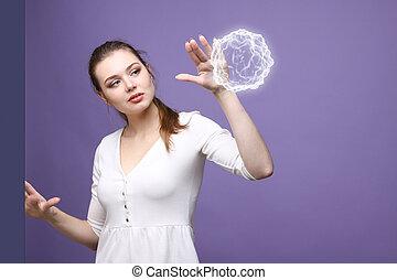 mujer, con, encendido, mágico, energía, ball.
