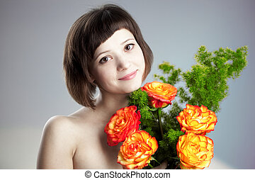 mujer, con, flores