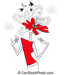 mujer, con, flores rojas