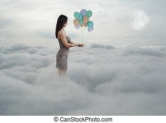 mujer, con, globos