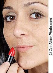 mujer, con, lápiz labial
