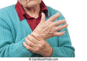 mujer, con, mano, dolor