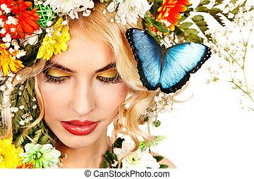 mujer, con, mariposa, y, flower.