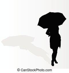 mujer con paraguas, vector, ilustración