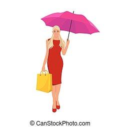 mujer con paraguas, vector
