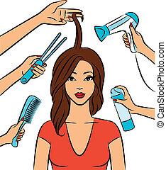 mujer, con, peinado