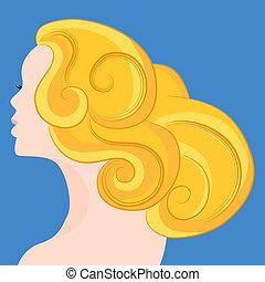 mujer, con, pelo rubio