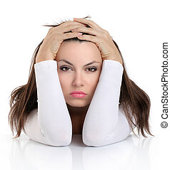mujer, con, preocupado, expresión, cara