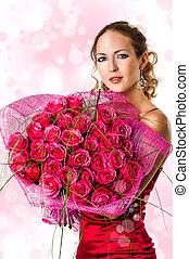 mujer, con, ramo, de, rosas rosa