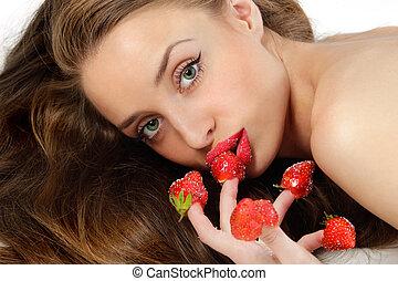 mujer, con, rojo, fresas