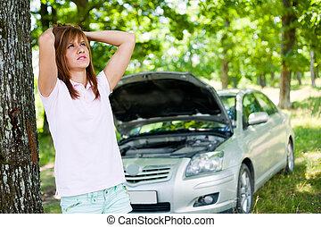 mujer, con, roto, coche