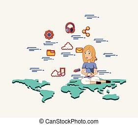 mujer, con, smartphone, sentado, en, mapa del mundo, social, medios