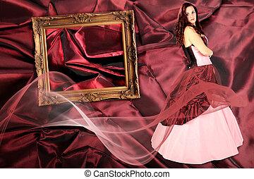 mujer, con, vestido, con, un, miriñaque, y, marco, en, tela, plisado, collage