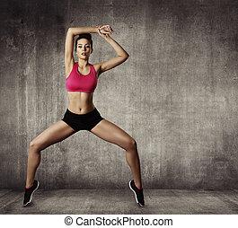 mujer, condición física, ejercicio gimnástico, deporte, niña joven, ataque, baile, moderno, aerobio, bailarín