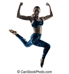 mujer, condición física, excercises, saltar, silueta