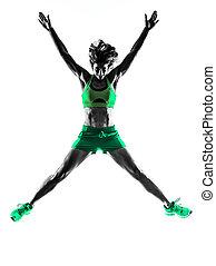 mujer, condición física, saltar, silueta