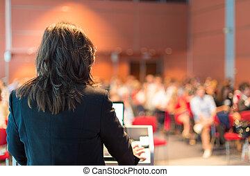 mujer, conference., empresa / negocio, dictar una conferencia