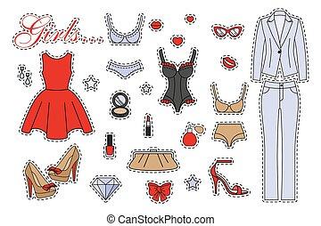 mujer, conjunto, ropa