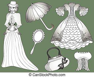 mujer, conjunto, vendimia, vector, paraguas, vestido, handbag., moda