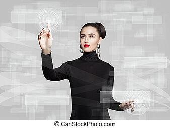 mujer, conmovedor, virtual, screen., educación, aprendizaje de distancia, y, nueva tecnología, concepto