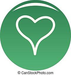 mujer, corazón, icono, vector, verde
