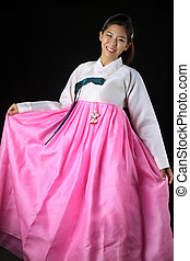 mujer, corea, niña asiática, vestido, hanbok