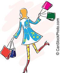 mujer, corra, joven, bolsa, compras, feliz