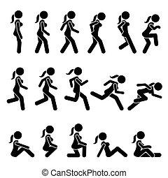 mujer, corra, movements., acciones, caminata, básico