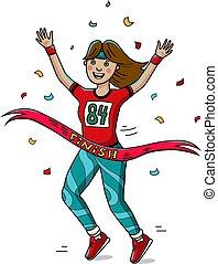 mujer, corredor, cruz, el, fin, línea., caricatura, style., marathon.