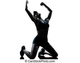 mujer, corredor, ganador, basculador, victoria, arrodillar