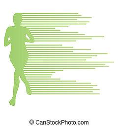mujer, corredor, silueta, vector, plano de fondo, plantilla, concepto, hecho, de, rayas, para, cartel