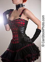 mujer, corsé, cuero, vestido, punk, tartán, atractivo, estilo