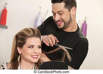mujer, corte de pelo, atractivo, obteniendo