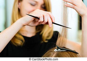mujer, corte de pelo, receiving