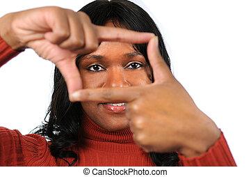 mujer, crear, marco, dedos