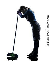 mujer, criada, quehacer doméstico, cansado, brooming, silueta
