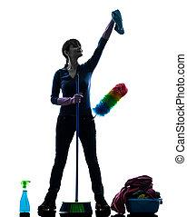 mujer, criada, quehacer doméstico, limpieza, productos, silueta