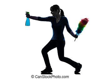 mujer, criada, quehacer doméstico, polvo, limpieza, silueta