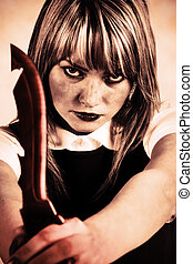mujer, cuchillo, maníaco