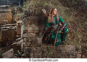 mujer, cuero, duende, arco, armadura, verde