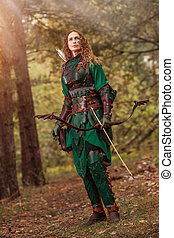mujer, cuero, duende, armadura, flechas, arco, fondo., ...