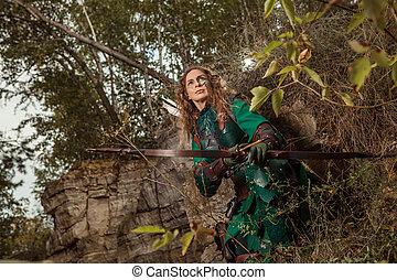 mujer, cuero, flechas, duende, arco, armadura, verde