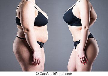 mujer, cuerpo, antes y después, pérdida de peso
