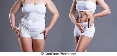 mujer, cuerpo, antes y después, pérdida de peso, en, fondo gris