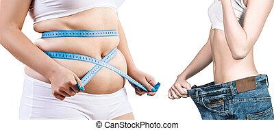 mujer, cuerpo, antes y después, peso, loss.