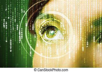mujer, cyber, moderno, matriz, ojo
