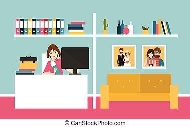 mujer, día, oficina., interior., diseño, trabajo, hogar, ...