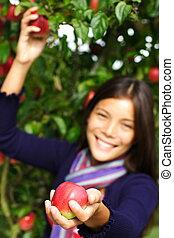 mujer, dar, manzana
