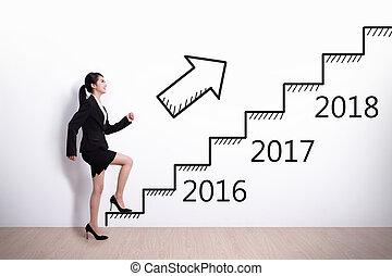 mujer de negocios, éxito, en, año nuevo