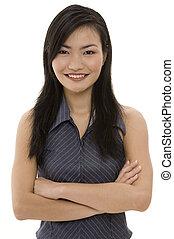 mujer de negocios, 2, asiático